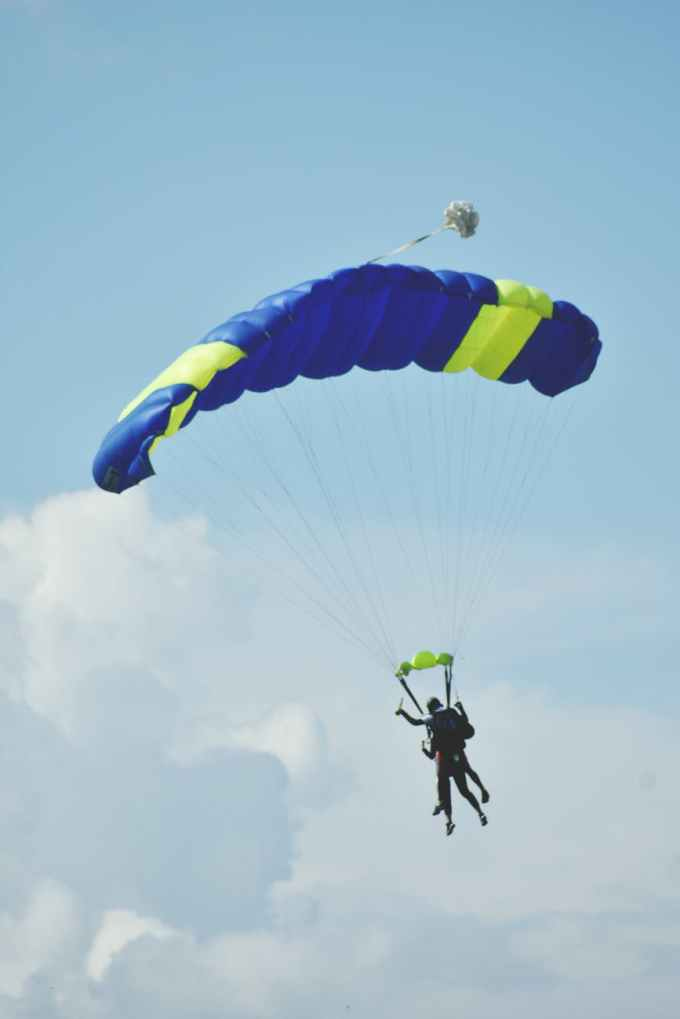 two people parachuting