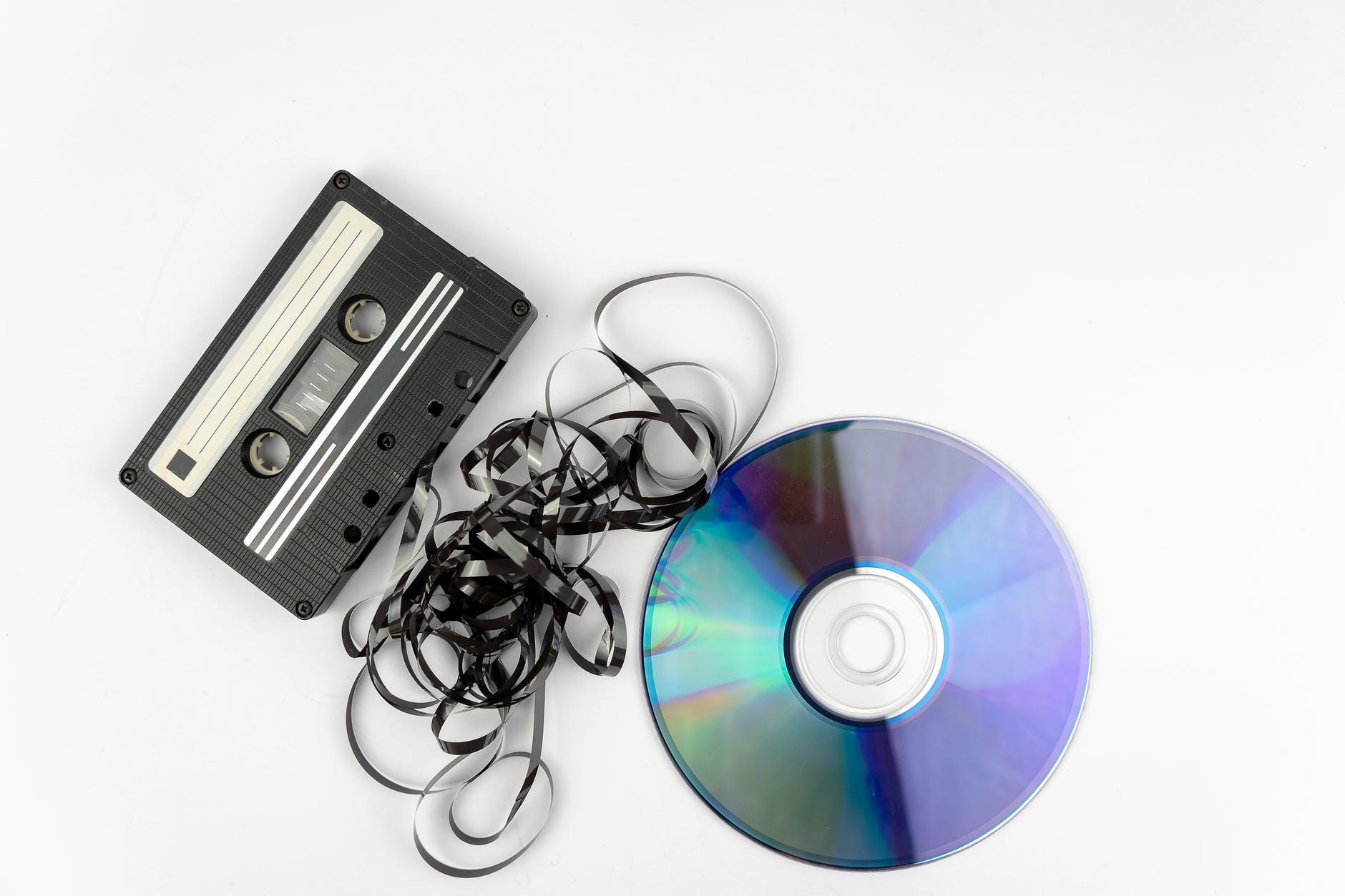 black and purple cassette tape
